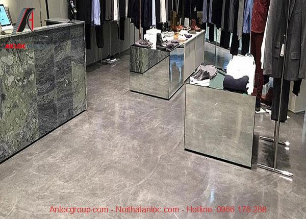 Họa tiết vân đá được sử dụng trong trung tâm thương mại