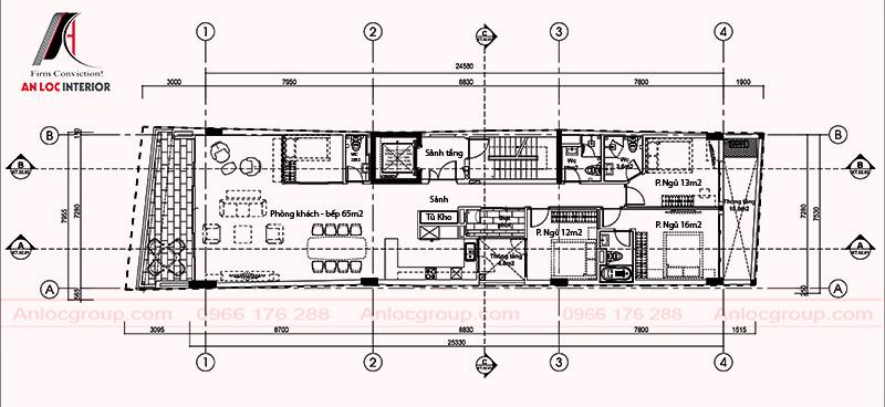 Mặt bằng thiết kế nội thất nhà phố tại Hà Nội