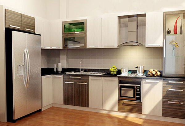 Tủ bếp được trang trí bằng vật liệu Laminate