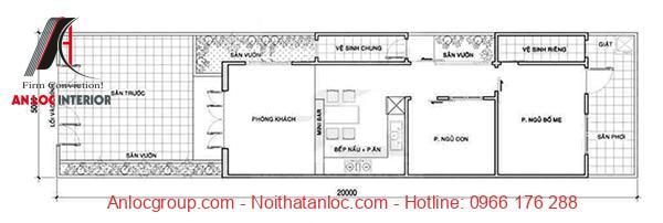 Nhà cấp 4 đẹp 5x20m 2 phòng ngủ