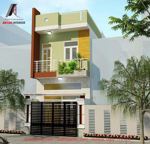 Thiết kế nhà ống 1 tầng được thiết kế với không gian xanh