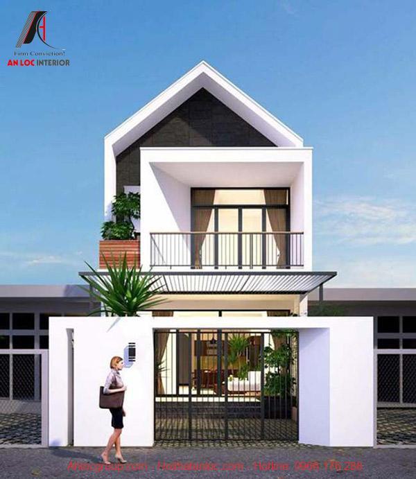 Hình ảnh 3D căn nhà phố 2 tầng mái vát hiện đại, sang trọng