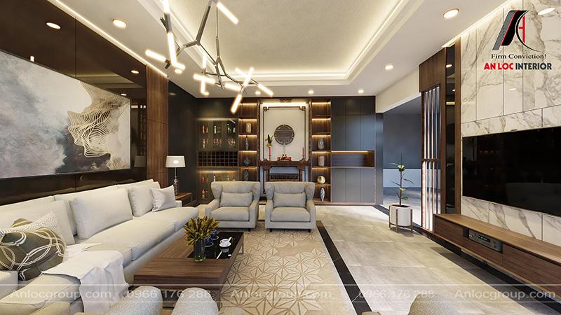 Nội thất phòng khách nhà cấp 4 tại Phú Thọ