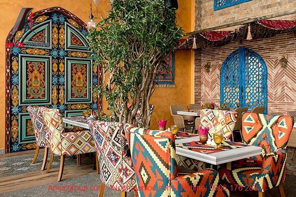 Phòng ăn sử dụng hoàn tàn các họa tiết mang đậm phong cách Boho