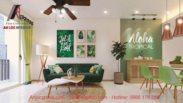 Không gian phòng khách theo phong cách nhiệt đới