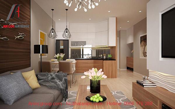 Mẫu 38 - Thiết kế phòng khách và bếp chung