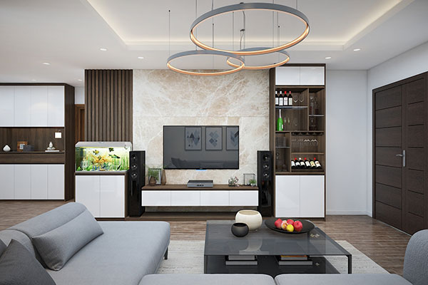 Sàn nhà phòng khách từ vật liệu Laminate