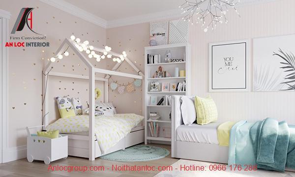 Mẫu 4: Phòng ngủ bé gái theo gam trắng