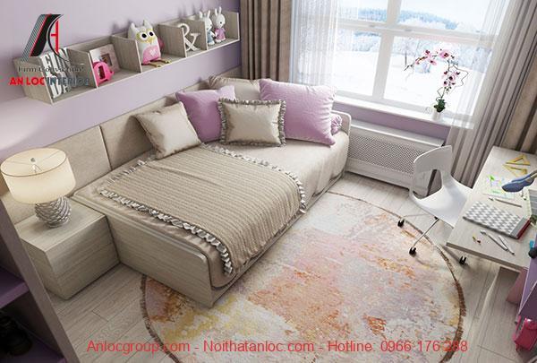 Phòng ngủ kết hợp nhiều gam màu