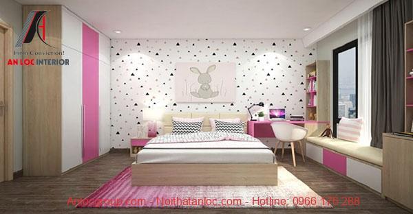Mẫu 22: Không gian kết hợp với họa tiết dán tường