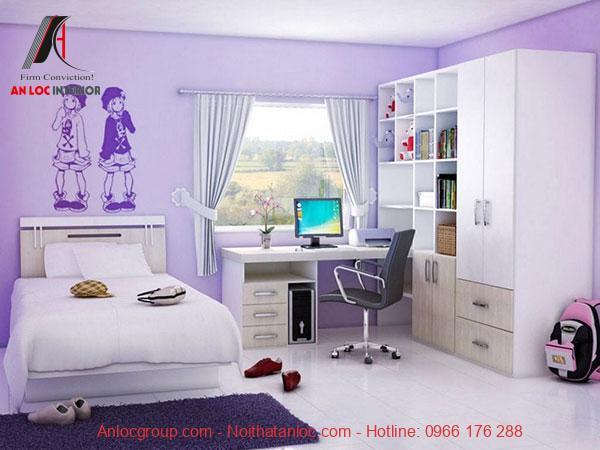 Mẫu 12: Phòng ngủ bé gái hoạt hình 3D