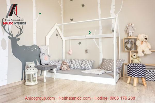 Mẫu 5: Phòng ngủ bé gái đơn giản