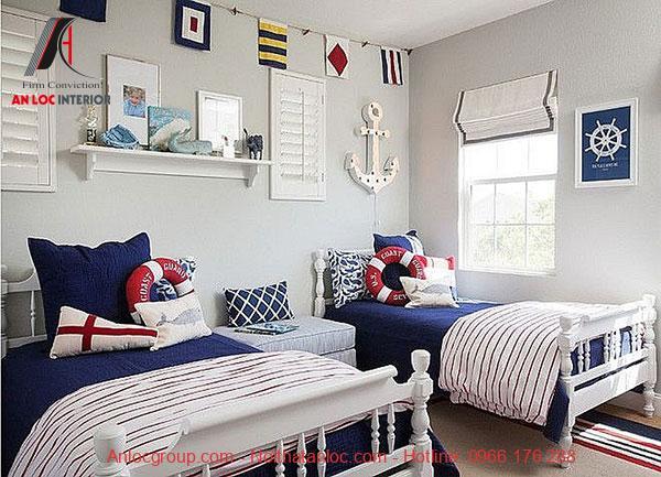 Mẫu 21: Phòng ngủ đôi cho bé trai