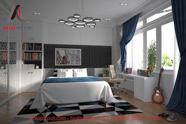 Mẫu 15: Phòng ngủ bé trai với các vật dụng