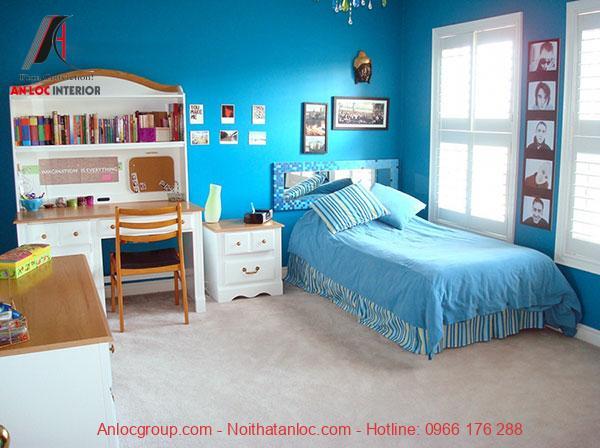 Mẫu 18: Phòng ngủ với gam màu xanh sáng