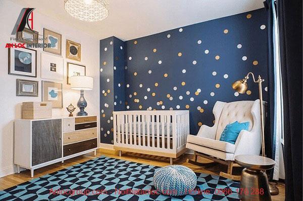 Mẫu 8: Không gian phòng ngủ bé trai sơ sinh