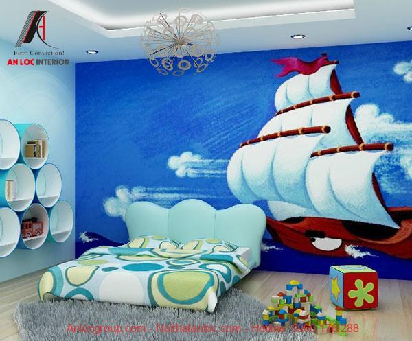 Mẫu 9: Phòng ngủ kết hợp với họa tiết 3D