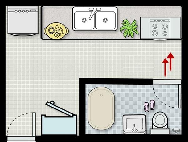Thiết kế nhà bếp và nhà vệ sinh không đặt ở trung tâm nhà