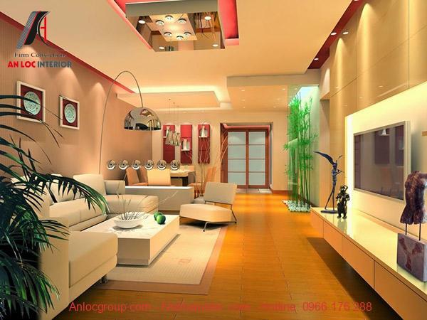 Bố trí phong fkhách có không gian mở, đồ nội thất hợp phong thủy đồng thời cân bằng màu sắc tinh tế