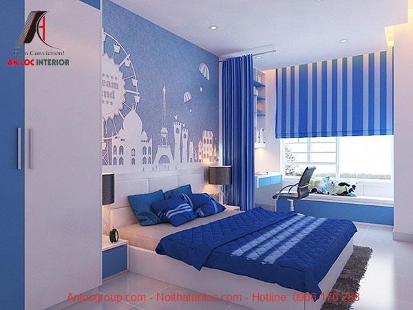 Mẫu 22: Phòng ngủ bé trai gam sáng
