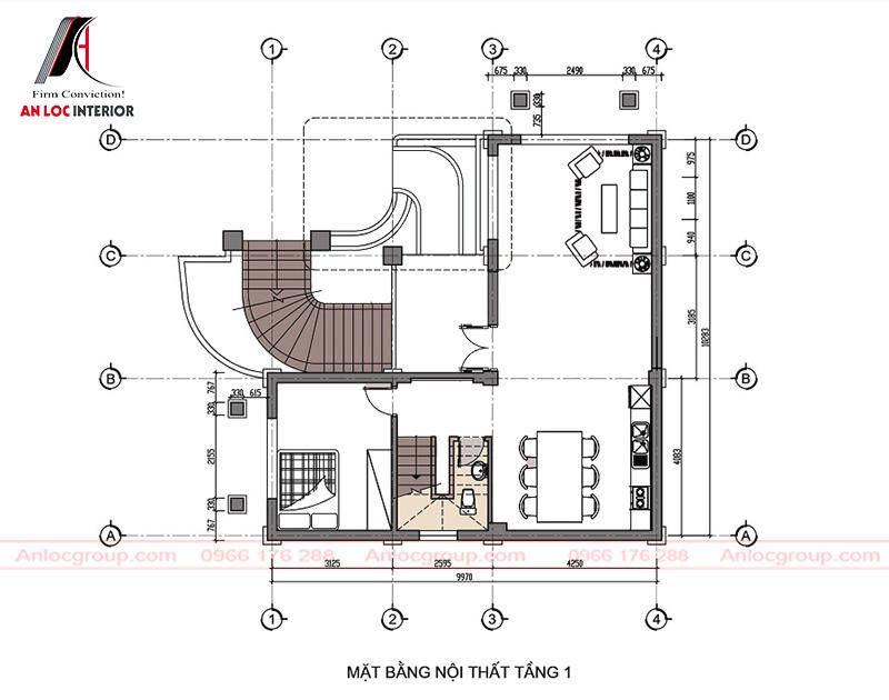 Mặt bằng nội thất tầng 1 được xếp đặt, phân chia độc