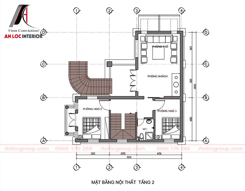 Không gian nội thất tầng 2 đơn giản nhưng đảm bảo đủ công năng sử dụng