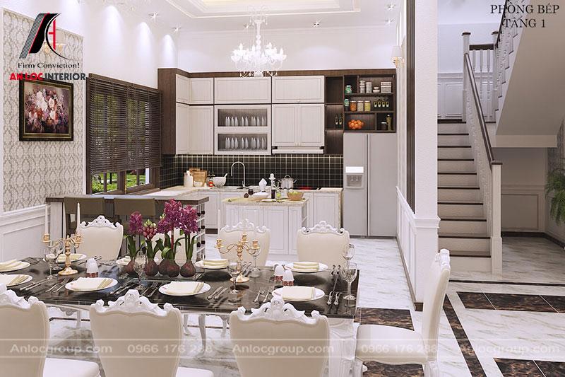 Phòng bếp được sắp đặt sang trọng với gam màu trắng, nâu làm chủ đạo