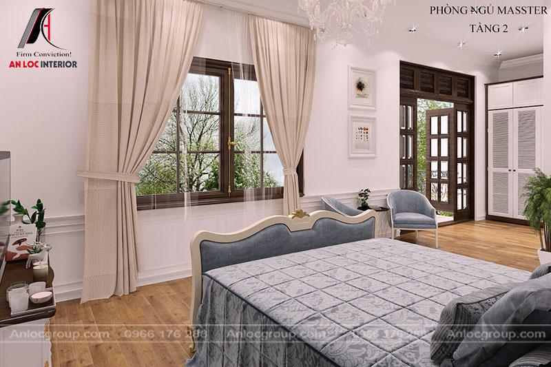 Khung cửa sổ tạo không gian phòng ngủ gần gũi, hòa hợp với thiên nhiên