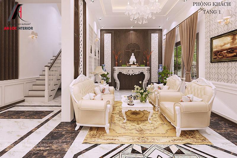 Nội thất phòng khách hiện đại với quá trình bố trí không gian tinh tế