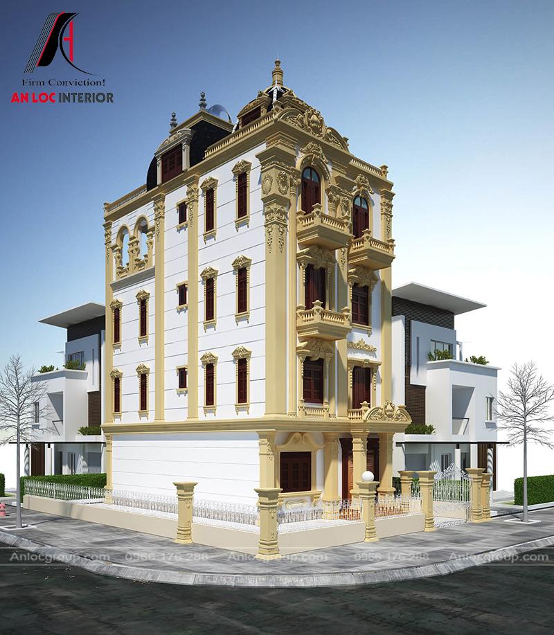 Màu sơn cổ kính kết hợp với khiến trúc 3 tầng độc đáo mang đến vẻ đẹp có một không hai