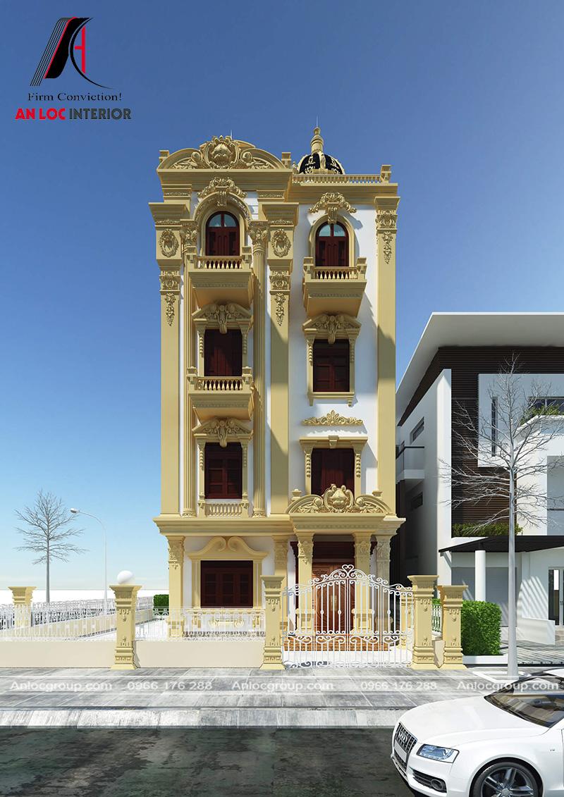 TMặt tiền biệt thự được xây dựng với hệ thống của cùng kết cấu nguy nga, cổ kính