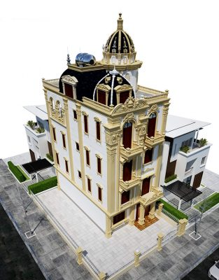 Mái nhà hình vòm đi theo đúng quy chuẩn biệt thư cổ điển