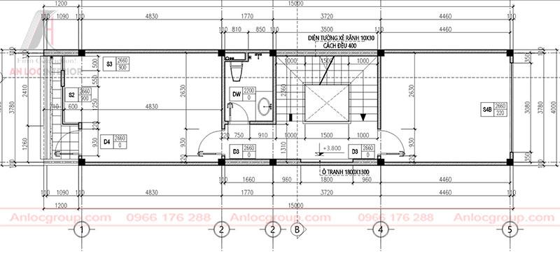 Kết cấu mặt bằng nhà phố được phân chia tỉ mỉ, chi tiết