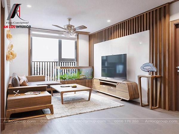 Mẫu 1 - Nội thất phòng khách chung cư nhỏ với gỗ Óc Chó