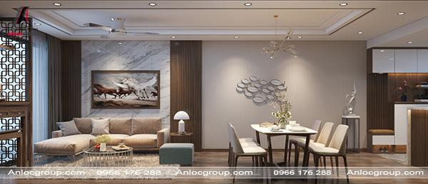 Phòng khách liền bếp tận dụng tối đa tối giản không gian nhưng không làm mất đi tính thẩm mỹ