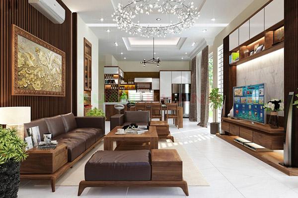 Thiết kế nội thất phòng khách nhà ống mặt tiền 5m