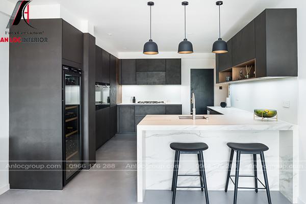 Mẫu phòng bếp gam màu đen trắng
