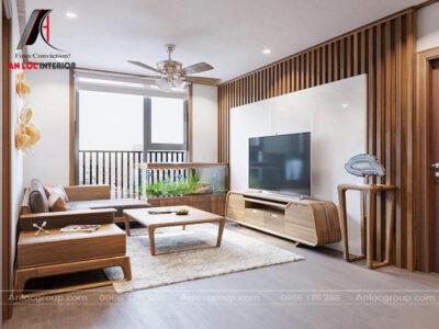 Thiết kế phòng khách gỗ Óc Chó