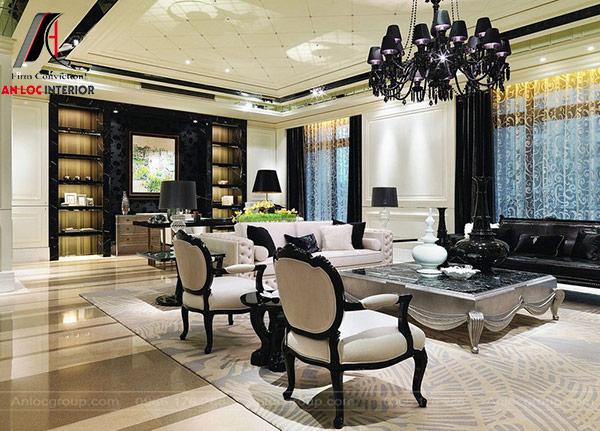 Mẫu 54 - Phòng khách tân cổ điển đẹp cho biệt thự