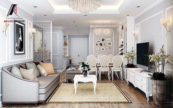 Mẫu 56 - Thiết kế nội thất phòng khách tân cổ điển