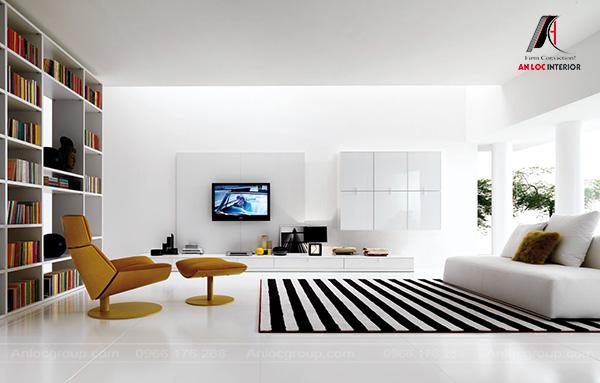 Mẫu 43 - Thiết kế nội thất phòng khách tối giản đẹp