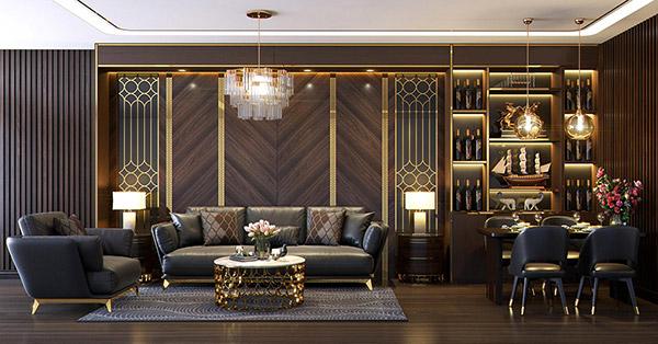 Thiết kế phòng khách với nội thất mạ vàng