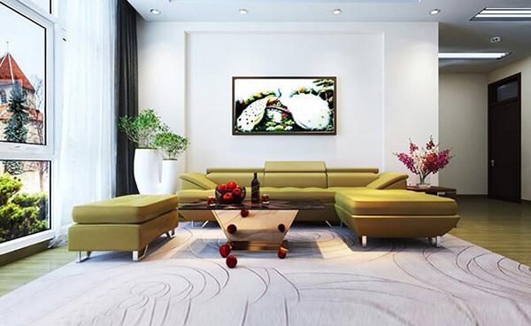 Thiết kế nội thất phòng khách với sofa là điểm nhấn