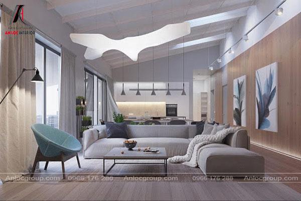 Phòng khách với tone màu xám thanh lịch
