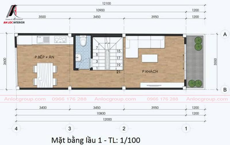 Phòng ăn và phòng khách được xếp đặt tinh tế và ở giữa là khu vực nhà vệ sinh chung