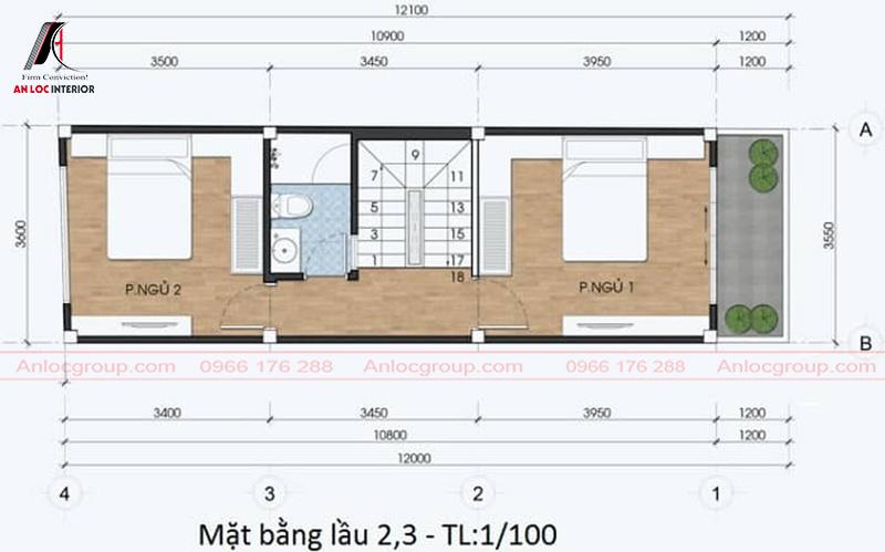Phòng ngủ trên tầng 3 nhưng vẫn có khoảng không gian xanh dành cho gia chủ