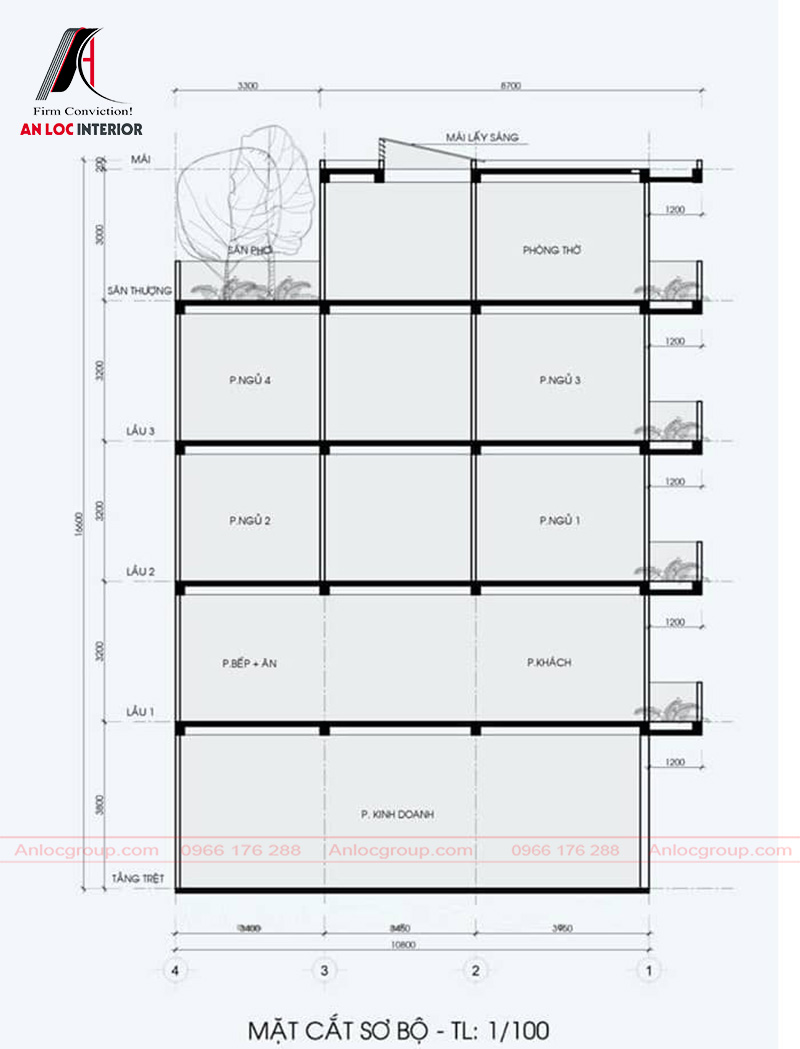Mặt cắt sơ bộ căn nhà giúp mọi người hình dung cụ thể nhất