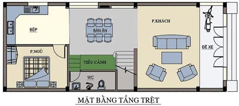 Tầng trệt vẫn là khu vực phòng khách, phòng bếp, phòng ăn được bố trí linh hoạt trong đó khu tiể cảnh là điểm nhấn độc đáo
