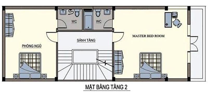 Hai phòng ngủ được phân bổ đều 2 bên kết hợp với sảnh tầng rông rãi mang đến không gian mở cho ngôi nhà