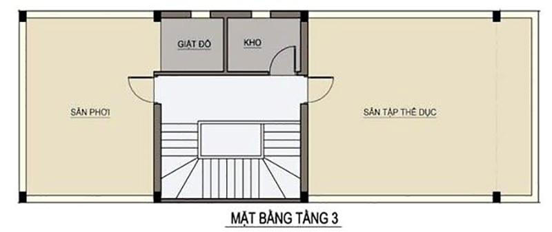 Tầng 3 với khu vực sinh hoạt chung cùng với đo slà khuôn viên rèn luyện sức khỏe